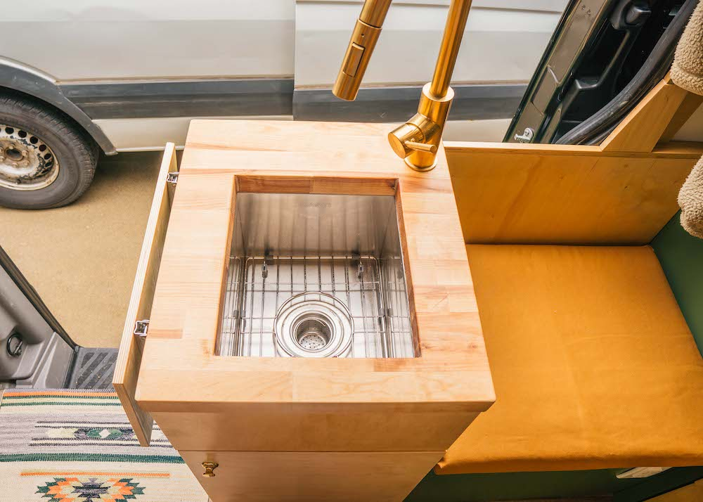 vanlife kitchen sink and grate