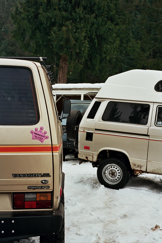 vanagons parked together - vanagon outlaws